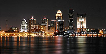 English: Louisville nighttime skyline, by user...