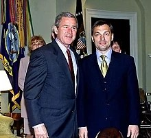 Orbán with George W. Bush in the White House (2001).
