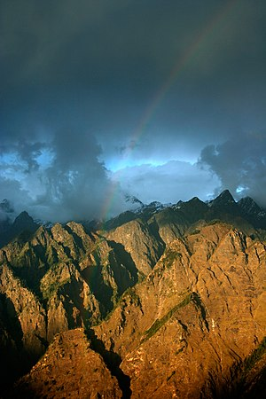 English: Rainbow across Himalayas, Auli