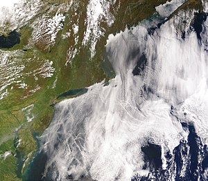 Satellite image of ship tracks, clouds created...