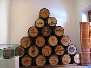 English: Barrels for tequila on display at the...