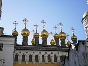 English: Terem churches in the Moscow Kremlin ...