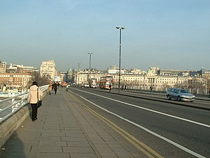 Waterloo Bridge. looking NE on a sunny winter ...