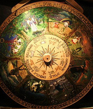A photograph of a painted Wheel of the Year fr...