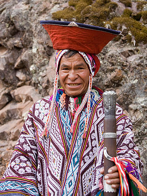 English: An Andean man in traditional dress. P...
