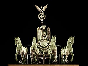 This picture is a close-up of the quadriga on ...