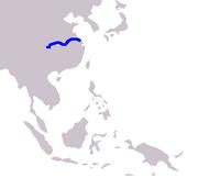 Mapa de distribuição do Baiji