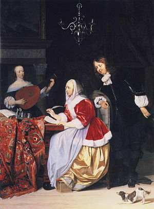 Gabriel Metsu - A Young Woman Composing Music ...