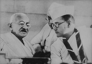 English: Gandhi and Subhas Bose, Haripura Cong...