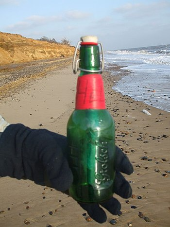 English: Message in a bottle I found the bottl...