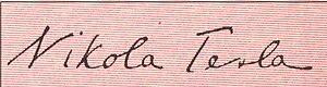 English: Nikola Tesla's signature Hrvatski: Po...