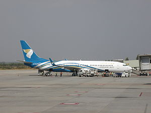 Oman Air aircraft at Bengaluru International A...