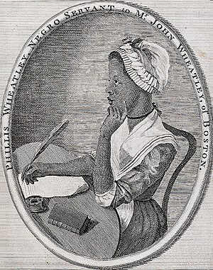 English: Frontispiece to Phillis Wheatley's Po...