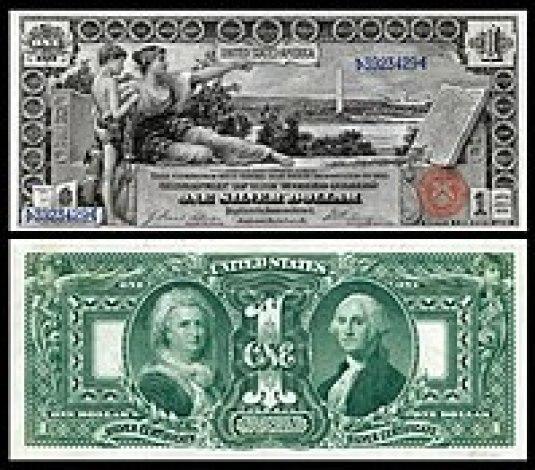 """$ 1 Certificado de Plata, Serie 1896, Fr.224, que representa la alegoría titulada """"History Instructing Youth"""""""