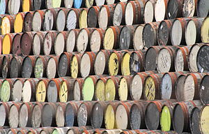 Empty oak barrels waiting to be filled with wh...