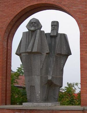 Statue of Marx and Engels from the Szoborpark,...