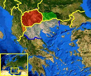 map of historical Macedonia based on NASA sate...
