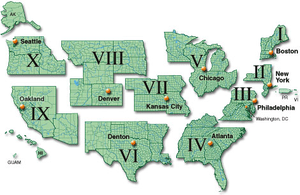 Map of regions of the Federal Emergency Manage...