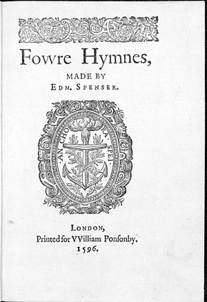 "English: Title page, ""Fowre Hymnes"" ..."
