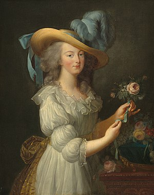 Marie Antoinette in muslin dress and wide-brim...