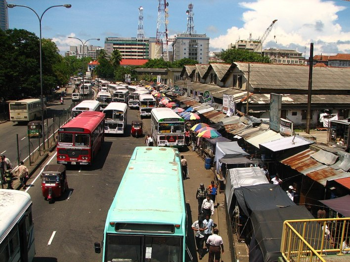 Sri Lankan Bus Terminal in Colombo is very busy