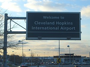 Airport welcome sign.