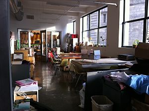 The Etsy office's community workspace area.