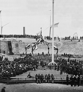 English: View of the flag-raising over Fort Su...