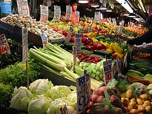 Various fruits and vegetables for sale at Pike...