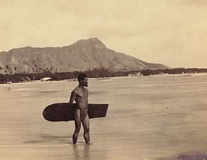 English: The lone Hawaiian surfer at Waikiki B...
