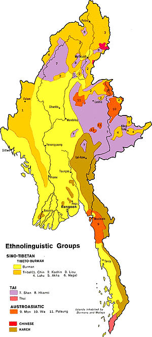 Ethnolinguistic map of Myanmar found http://ww...