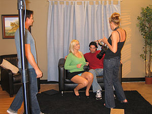 Filming on a pornographic film set.