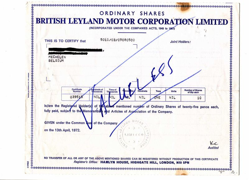British Leyland Shares -- Valueless