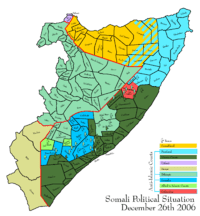 Map depicting the political situation in Somalia on December 26, 2006