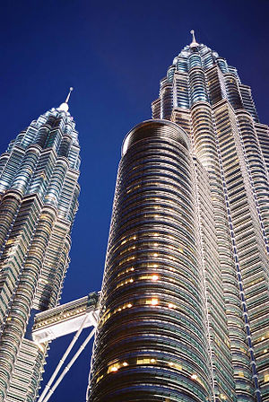 The Petronas Twin Towers. One of the towers wa...