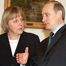 Merkel with Vladimir Putin, 2002