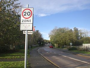 A slow sign seen when entering Wellington Road...
