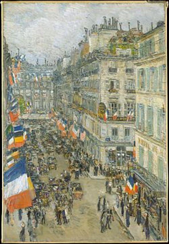 Childe Hassam, 14-Juillet, rue Daunou (1910).