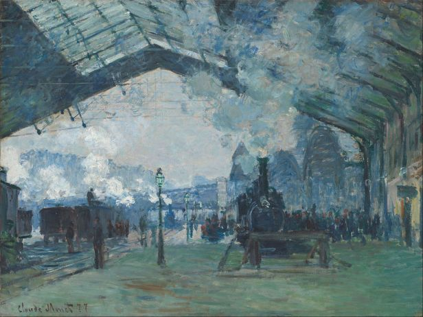 """""""Arrival of the Normandy Train, Gare Saint-Lazare"""" byClaude Monet"""