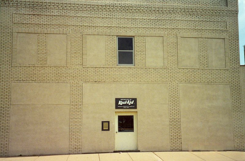 Building in Hasting, Nebraska, where Kool-Aid was invented by Gerard and Edwin Perkins.  Wikimedia photo