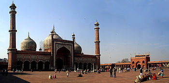 The facade of the Jama Masjid, Delhi.