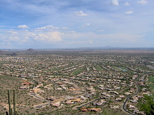 View of suburban development in Phoenix metrop...