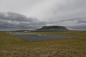 English: Sligo Airport runway with Knocknarea ...