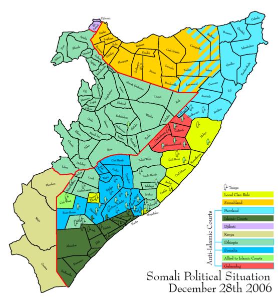 Estado polôico de Somalia en 2006 (Fuente: wikipedia)