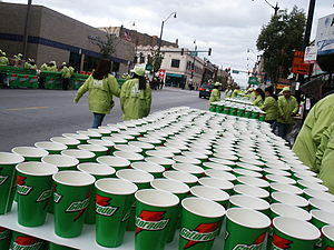 Gatorade cups on table at a marathon road race.