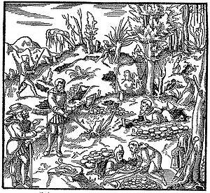 Gravura extra�da de De Re Metallica de Agricola, séc. XVI