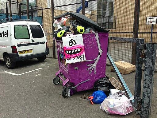 Graffiti in Shoreditch, London - Art Is Trash Dumpster (9422226755)