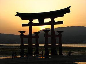 Itsukushima-jinja torii at sunset, Miyajima Is...