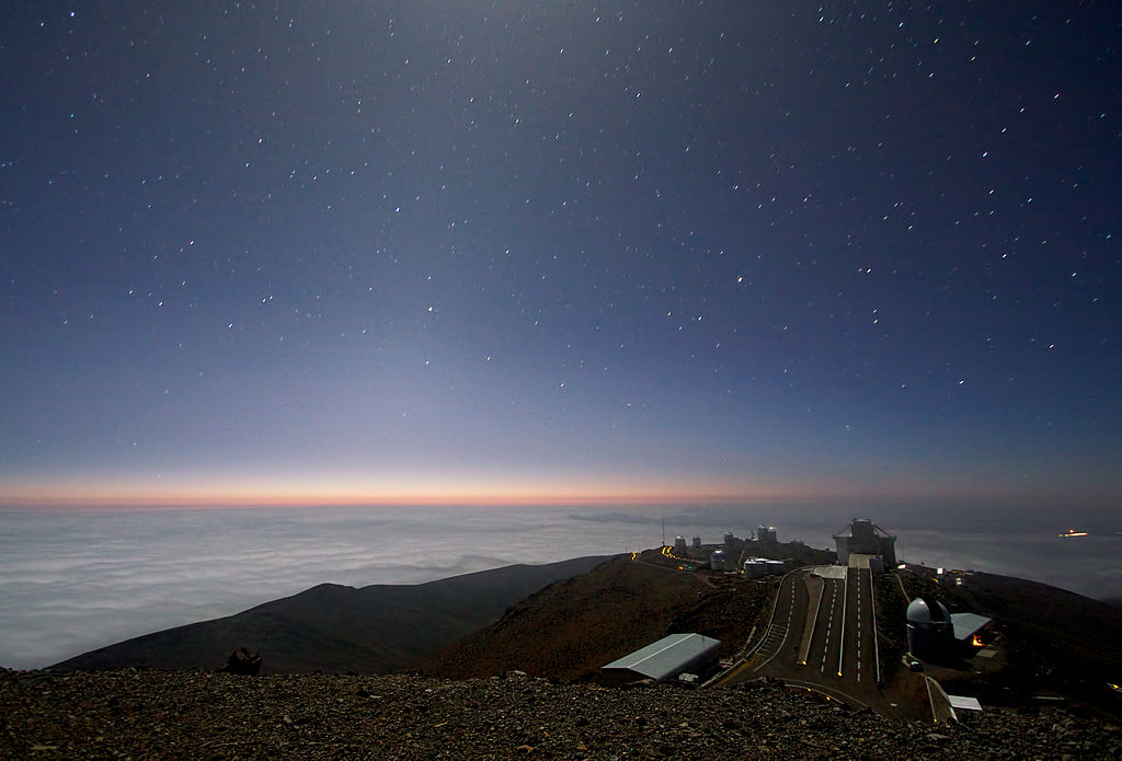 Moonlight and Zodiacal Light Over La Silla Observatory