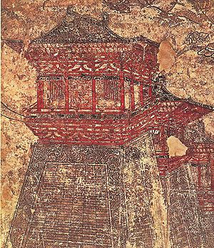tours le long des murs de l'époque Tang Chang'an, comme représenté sur cette murale 8ème siècle à partir de (682-701) tombeau de Li Chongrun au mausolée Qianling dans le Shaanxi